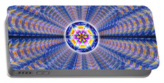 Portable Battery Charger featuring the drawing Blue Crystal Consciousness by Derek Gedney