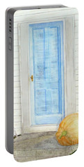 Blue Door With Pumpkin Portable Battery Charger