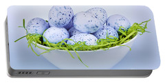 Blue Easter Eggs In Bowl Portable Battery Charger
