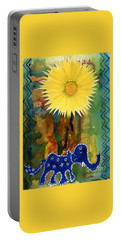 Blue Elephant In The Rainforest Portable Battery Charger by Mukta Gupta