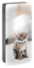 Blue Eyed Kitten Portable Battery Charger by Shelby  Young