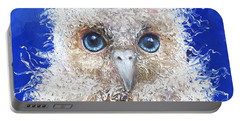 Blue Eyed Owl Painting Portable Battery Charger