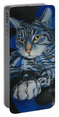 Blue Feline Geometry Portable Battery Charger by Pamela Clements