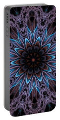Portable Battery Charger featuring the digital art Blue Flower by Lilia D
