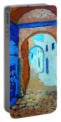 Portable Battery Charger featuring the painting Blue Gate by Ana Maria Edulescu