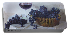 Blue Grapes And Wine Portable Battery Charger