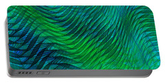 Blue Green Fabric Abstract Portable Battery Charger