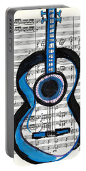 Portable Battery Charger featuring the drawing Blue Guitar Music by Ecinja Art Works
