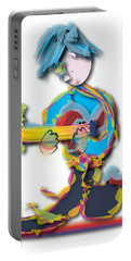 Portable Battery Charger featuring the digital art Blue Hair Guitar Player by Marvin Blaine