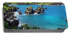 Portable Battery Charger featuring the photograph Blue Hawaiian Lagoon Near Blacksand Beach On Maui by Amy McDaniel