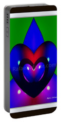 Portable Battery Charger featuring the painting Blue Hearts by Rafael Salazar