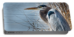 Blue Heron At Pond Portable Battery Charger