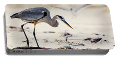 Blue Heron At The Beach Portable Battery Charger