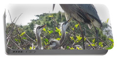 Portable Battery Charger featuring the photograph Blue Heron Family by Ron Davidson