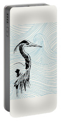 Blue Heron On Waves Portable Battery Charger