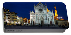 Blue Hour - Santa Croce Church Florence Italy Portable Battery Charger by Georgia Mizuleva