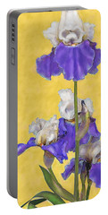 Blue Iris On Gold Portable Battery Charger by Jane Schnetlage
