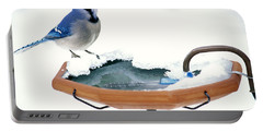Blue Jay At Heated Birdbath Portable Battery Charger