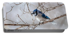 Blue Jay In Blowing Snow Portable Battery Charger