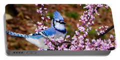 Blue Jay In The Pink Portable Battery Charger by Randall Branham