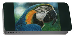 Portable Battery Charger featuring the drawing Blue Macaw by Sandra LaFaut