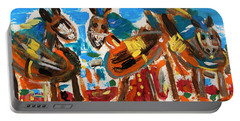 Portable Battery Charger featuring the painting Blue Manes And Yellow Saddles by Mary Carol Williams