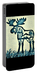 Portable Battery Charger featuring the pyrography Blue Moose by Larry Campbell