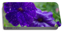 Blue Pansies After A Rain Portable Battery Charger