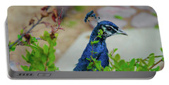 Blue Peacock Green Plants Portable Battery Charger by Jonah  Anderson