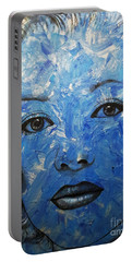 Blue Pop Marilyn Portable Battery Charger by Malinda Prudhomme