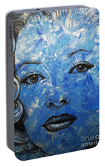 Portable Battery Charger featuring the painting Blue Pop Marilyn by Malinda Prudhomme