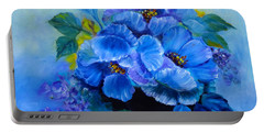 Portable Battery Charger featuring the painting Blue Poppies by Jenny Lee
