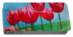 Blue Ray Tulips Portable Battery Charger by Pamela Clements