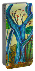 Blue Remembered Tree Portable Battery Charger by Veronica Rickard