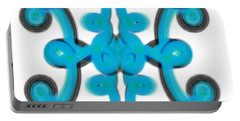 Portable Battery Charger featuring the digital art Blue Scroll Square by Christine Fournier