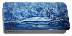 Portable Battery Charger featuring the painting Blue Silence by Vesna Martinjak