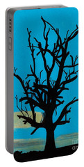 Portable Battery Charger featuring the drawing Blue Sunset by D Hackett