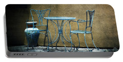 Portable Battery Charger featuring the photograph Blue Table And Chairs by Lucinda Walter