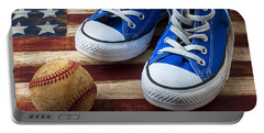 Blue Tennis Shoes And Baseball Portable Battery Charger by Garry Gay