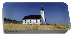 Portable Battery Charger featuring the photograph Blue Trim Church by Fran Riley