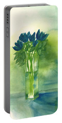 Blue Tulips In Glass Vase Portable Battery Charger