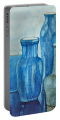Blue Vases I Portable Battery Charger by Anna Ruzsan