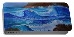 Portable Battery Charger featuring the painting Blue Waves Hawaii by Jenny Lee