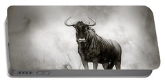 Blue Wildebeest In Rainstorm Portable Battery Charger