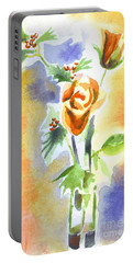Portable Battery Charger featuring the painting Blue With Redy Roses And Holly by Kip DeVore