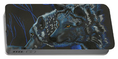 Portable Battery Charger featuring the drawing Blue Wolves by Mayhem Mediums