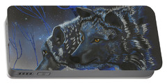 Blue Wolves With Stars Portable Battery Charger