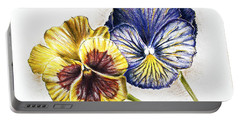Blue Yellow Pansies Portable Battery Charger by Katharina Filus