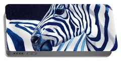Blue Zebra Portable Battery Charger by Alison Caltrider