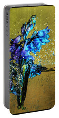 Portable Battery Charger featuring the mixed media Bluebells In Water Splash by Peter v Quenter